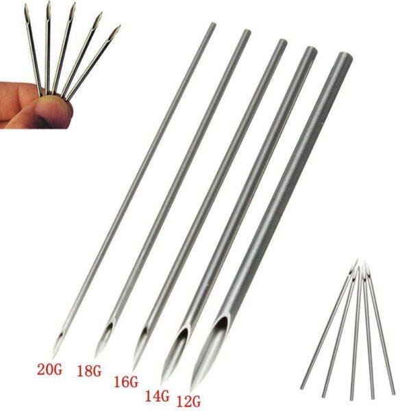 100pcs Tattoo Body Piercing Needles 12G,13G,14G, 15G,16G 18G 20G - wormholetattoo